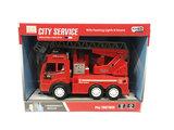 Brandweerwagen met lichtjes en geluid + autoladder - City service brandweerauto (21cm) _