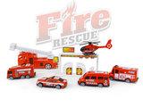 Brandweer speelfiguren set - Fire Rescue - speelgoed Brandweer set 17 stuks_