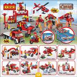 COGO 3018 Fire Fighter Brandstation bouwblokken - Display van 8 sets verschillende bouwsteentjes  -brandweer_
