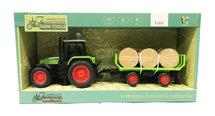 Speelgoed tractor met trailer voor hooi- maakt 3 soorten geluiden en lichtjes - 39CM (1:16) tractor