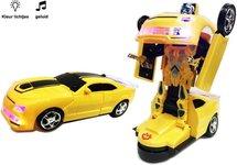 Robot Car 2 in 1 robot en auto + Little Princess - Speelgoed prinsesje met lichtjes en muziek - blauw | incl. Batterij