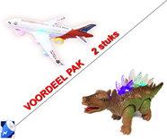 Speelgoed Airbus vliegtuig + Dinosaurus STEGOSAURUS met licht en geluid Voordeel pak 2 Stuks | Incl. Batterij