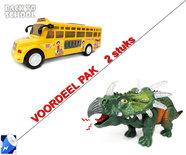 Speelgoed Schoolbus met Disco Led Lichtjes en Muziek + Dinosaurus Ceratopia  met licht en Dino geluid Voordeel pak 2 Stuk   Incl. Batterijs