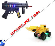Speelgoed Graafmachine led lichtjes & geluid+ Future Gun speelgoed geweer    Incl. Batterij