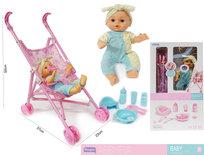 Baby pop Eva met wagen en accessoires - maakt geluid - interactief speelgoed pop