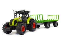 Tractor met trailer voor hooi - met 3 soorten geluiden en LED licht - werkvoertuig Farmers Tale 38CM