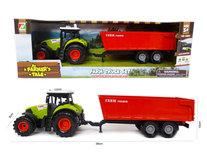 Landbouw tractor voertuig met kiepende aanhangwagen - met geluid en lichtjes - speelgoed traktor 38CM