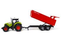 Landbouw tractor voertuig met kiepende aanhangwagen - met geluid en lichtjes - speelgoed tractor 38CM