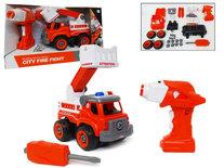 RC DIY brandweerauto speelgoed bouw set 24 stuks - 4in1 - afstandsbediening en schroefboormachine - City Fire Fight brandweerwagen