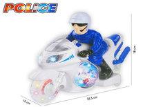 Politie motor met led flash light en politie geluiden - Led Disco spinning Ball- Police Motorcycle 25.5CM