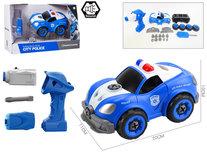 RC politie speelgoed bouwset 22 stuks - 4in1 - afstandsbediening en schroefboormachine - Police City DIY Series