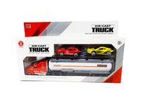 Autotransporter met 2 auto's - Tankwagen 1:58 - DIE-CAST TRUCK SERIES - model auto's