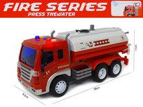 Brandweerwagen met lichtjes en geluid - met waterpomp slang - City service brandweerauto (28cm)