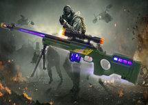 Sniper Rifle AWM geweer met led lichtjes, trilling en schietgeluiden - scherpschutters speelgoedgeweer  74.5 CM