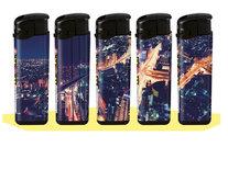 Klik aanstekers (50 stuks in tray ) navulbaar- Unilite Sleeve deal aanstekers met City at Night bedrukking