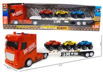 Super truck vrachtwagen - autotransporter met 3 mini auto's -maakt geluid en heeft lichtjes  - 55CM