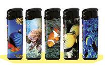 Klik aanstekers (50 stuks in tray ) navulbaar- VIS deal aanstekers met vissen bedrukking
