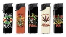 Klik aanstekers (50 stuks in tray ) navulbaar- Unilite Sleeve deal aanstekers met marijuana bedrukking