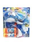 Bellenblaas speelgoed pistool- schiet automatisch bellen uit - met geluid en lichtjes Dolfijn - blauw