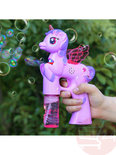 2x Bellenblaas pistool Pony - schiet automatisch bellen uit - met geluid en lichtjes (23CM)