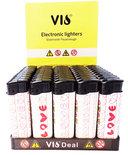 Klik aanstekers (50 stuks in tray ) navulbaar- Unilite Sleeve deal aanstekers met hartjes patronen