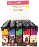 Klik aanstekers (50 stuks in tray ) navulbaar- Unilite Sleeve deal aanstekers met hondjes bedrukking