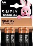 Duracell AA Simply batterijen 1.5 V - alkaline - LR6 MN1500 - 4 stuks
