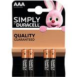 Duracell AAA Simply batterijen 1.5 V - alkaline - LR03 MN2400 - 4 stuks