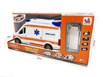 Ambulance speelgoed voertuig 25cm - pull back aandrijving - met sirene-geluid en lichtjes op - S.O.S 112