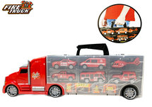 Brandweer Vrachtwagen set koffer - speelgoed brandweer 10-delig set- Mega Fire truck - 42CM