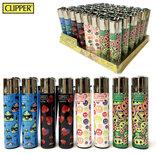 Clipper Aanstekers - 48 stuks- Emoji Vuursteen aansteker - na vulbaar