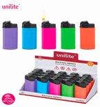 Unilite klik aanstekers - navulbaar - 20 stuks in een display - 5 ass. soft color - soft touch lighters