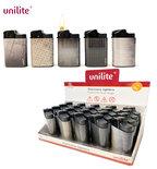 Unilite klik aanstekers - navulbaar - 20 stuks in een display - Steel print