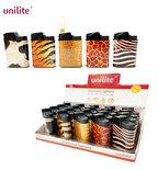 Unilite klik aanstekers - navulbaar - 20 stuks in een display - Animal Skin print