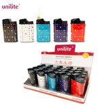 Unilite klik aanstekers - navulbaar - 20 stuks in een display - Stars print