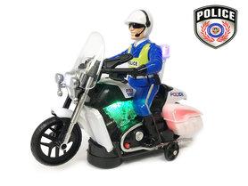 Politie motor met led flash light en politie geluiden - Police 20CM