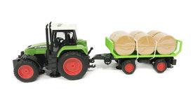 Speelgoed traktor met trailer voor hooi- maakt 3 soorten geluiden en lichtjes - 39CM (1:16) tractor
