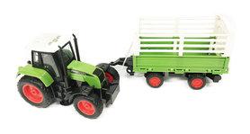 Traktor met vee aanhangwagen- maakt 3 soorten geluiden en lichtjes - 39CM (1:16) tractor