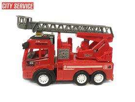 Brandweerwagen met lichtjes en geluid + autoladder - City service brandweerauto (21cm)