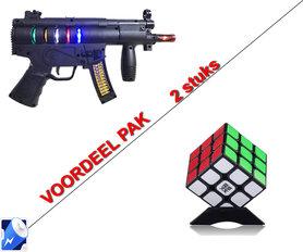 Future Gun speelgoed met lichtjes,tril functie + Rubiks Kubus 3X3X3 | Incl. Batterij