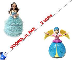 Prinsessen poppen : Little Princess Blauw + Dancing Prinsesje Angel Girl met muziek en 3D-lichtjes  | incl. Batterij