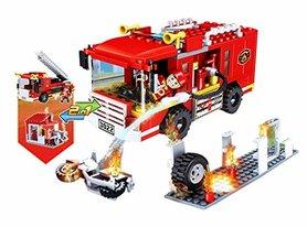 COGO City - Brandweerauto - bouwsteen pakket van 184 stuks - 2 in 1 bouwblokken set Brandweerbrigade