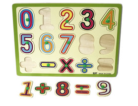 Inleg puzzel - houten puzzelbord - Vormenpuzzel cijfers