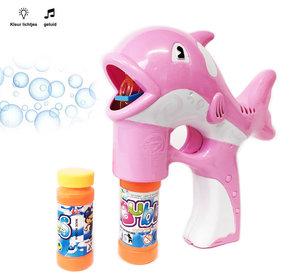 Bellenblaas pistool Dolfijn- geluid en lichtjes- Bubble gun roze