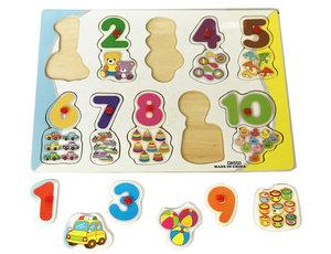 Inleg puzzel - houten puzzelbord - Vormen puzzel cijfers en speelgoed