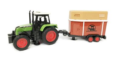 Traktor met vee aanhangwagen Livestock- maakt 3 soorten geluiden en lichtjes - 39CM (1:16) tractor