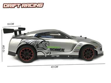 Rc bestuurbaar drift auto - 3D light - oplaadbaar - 43CM - 1:10 zilver