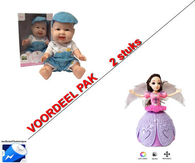 DANCING ANGEL GIRL - Dansende prinsesje +Mini Babypop met trendy outfit (2pack)
