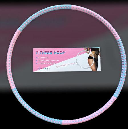 Fitness hoelahoep met kliksysteemØ 88cm - 6 delen - Fitness Hoop Roze/blauw stippen