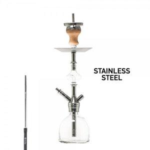 DUD Shisha Stainless Steel - Taj Mahal - 48CM waterpijp Roestvrij Staal - transparant glas - Molasse-vanger